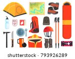 mountain camping equipment set | Shutterstock .eps vector #793926289