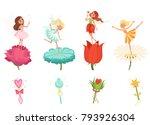 set of little fairies hovering... | Shutterstock .eps vector #793926304