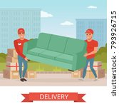 strong guys carrying sofa.... | Shutterstock .eps vector #793926715