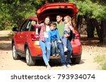 happy family taking selfie near ... | Shutterstock . vector #793934074