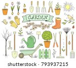 colorful hand drawn garden set... | Shutterstock .eps vector #793937215