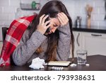 sick woman urgently calling the ... | Shutterstock . vector #793938631