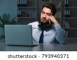 young man in call center... | Shutterstock . vector #793940371