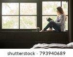 pensive dreamy girl holding...   Shutterstock . vector #793940689