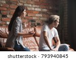 unhappy couple arguing  young... | Shutterstock . vector #793940845