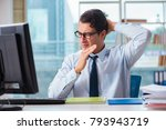 businessman suffering from... | Shutterstock . vector #793943719