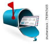 open mailbox with envelopes ... | Shutterstock . vector #793947655