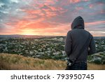 anonymous man wearing hoody... | Shutterstock . vector #793950745