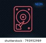 neon light. hdd icon. hard disk ...   Shutterstock .eps vector #793952989
