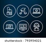 set of tea bag  throw hats and... | Shutterstock .eps vector #793954021