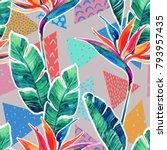 watercolor tropical flowers... | Shutterstock . vector #793957435