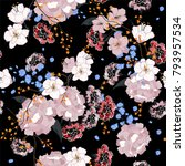 garden. seamless oriental... | Shutterstock .eps vector #793957534