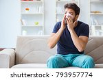 young man recovering healing at ... | Shutterstock . vector #793957774