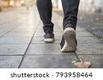 young woman traveller walking... | Shutterstock . vector #793958464