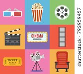 movie icons. flat style.... | Shutterstock .eps vector #793959457