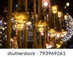 lightbulbs on ropes | Shutterstock . vector #793969261