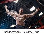 brutal sexy strong bodybuilder... | Shutterstock . vector #793972705