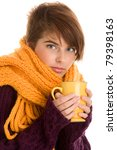 woman holding mug with hot... | Shutterstock . vector #79398163