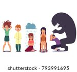 set of people suffering from...   Shutterstock .eps vector #793991695