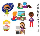 set of kids  children  teens... | Shutterstock .eps vector #793991824