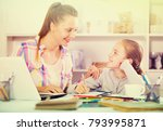 portrait of cheerful woman and... | Shutterstock . vector #793995871