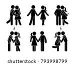 stick figure happy couple in... | Shutterstock .eps vector #793998799