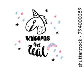 unicorns are real. funny... | Shutterstock .eps vector #794000359