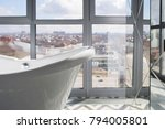 white bathroom  with panoramic...   Shutterstock . vector #794005801