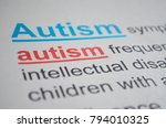 Small photo of Newspaper article with detailed word AUTISM, closeup