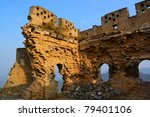 Dilapidated Great Wall of China in Jinshanling, Hebei Province, China - stock photo
