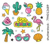 Summer patches collection. Vector illustration of funny summer symbols and icons, such as cactus, flamingo, ice cream, palm, pineapple and sunglasses. Isolated on white.   Shutterstock vector #794012689