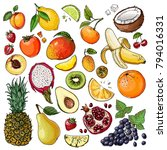 fruits drawn by a line on a... | Shutterstock .eps vector #794016331