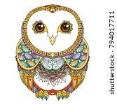 vector zendoodle ornate owl... | Shutterstock .eps vector #794017711
