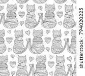 romantic cats seamless pattern. ... | Shutterstock .eps vector #794020225