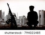 silhouette of infantry soldier... | Shutterstock . vector #794021485