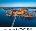 trakai castle at winter  aerial ... | Shutterstock . vector #794024011