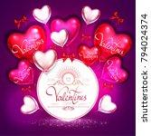 happy valentine's day card... | Shutterstock .eps vector #794024374