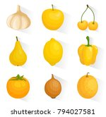 vector set of icons of yellow... | Shutterstock .eps vector #794027581