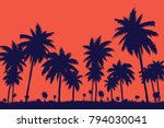 evening on the beach with palm... | Shutterstock .eps vector #794030041