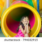 asian little girl playing... | Shutterstock . vector #794032915