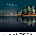 abstract night background with... | Shutterstock .eps vector #794035294