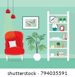 modern room interior with an...   Shutterstock .eps vector #794035591