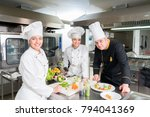 chef cooking  cutting and...   Shutterstock . vector #794041369