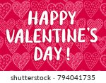 happy valentine's day greeting... | Shutterstock .eps vector #794041735