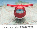 travel with plane  small toy... | Shutterstock . vector #794042191