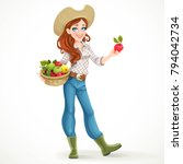 beautiful girl farmer with ripe ... | Shutterstock .eps vector #794042734