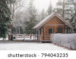 small wooden camping house in... | Shutterstock . vector #794043235
