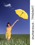 young  girl with umbrella on a... | Shutterstock . vector #79404697