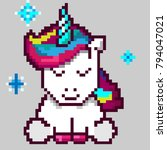 cute magic unicorn  pixel art | Shutterstock .eps vector #794047021