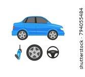 vector flat car parts  symbols... | Shutterstock .eps vector #794055484